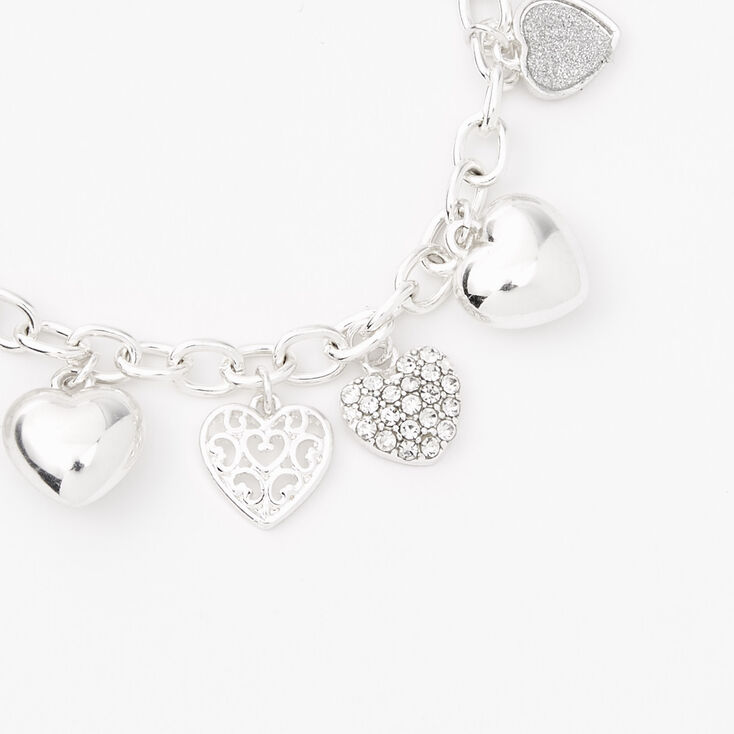 Silver Heart Charms Chain Link Bracelet,