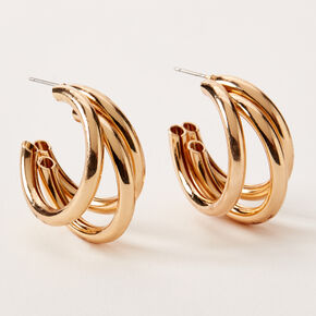 Gold 30MM Triple Tube Hoop Earrings,