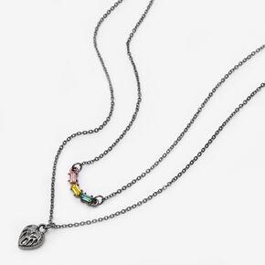 Hematite Heart Multi Strand Necklace,
