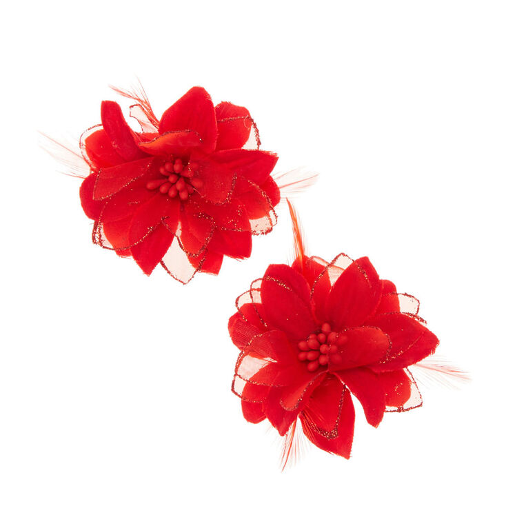 Red Lily & Feathers Hair Clips,