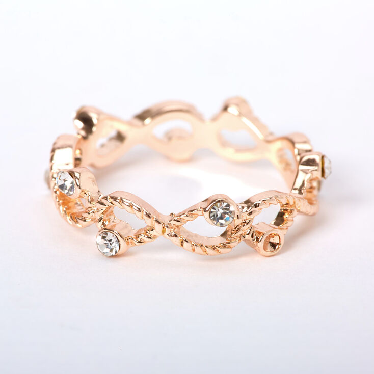 Rose Gold Infinity Stone Ring,