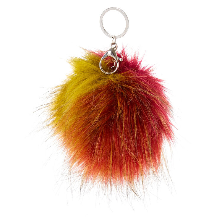 XL Starburst Faux Fur Pom Key Ring,