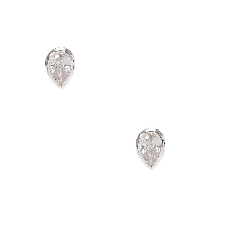 Sterling Silver Cubic Zirconia Tear Drop Earrings,
