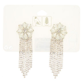 Silver Glass Rhinestone Chain Shoe Clips - 2 Pack,