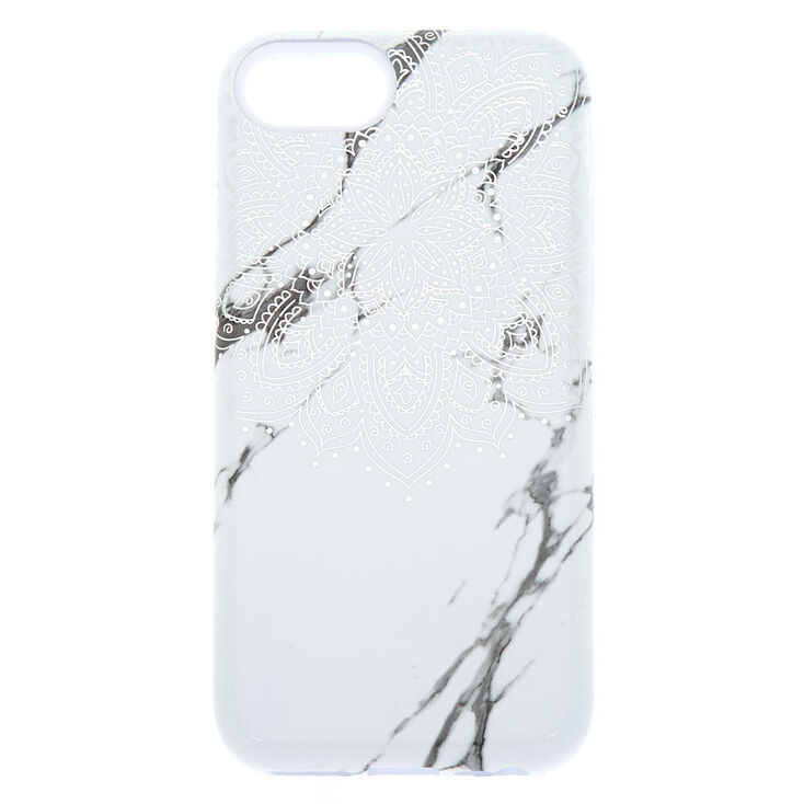 Mandala and Marble Protective Phone Case - White,