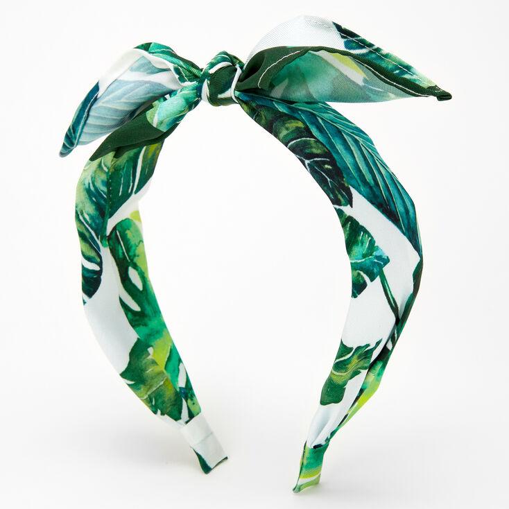 Palm Leaf Print Knotted Bow Headband,