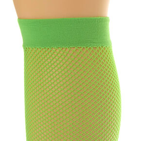 Lime Green Over the Knee Fishnet Socks,
