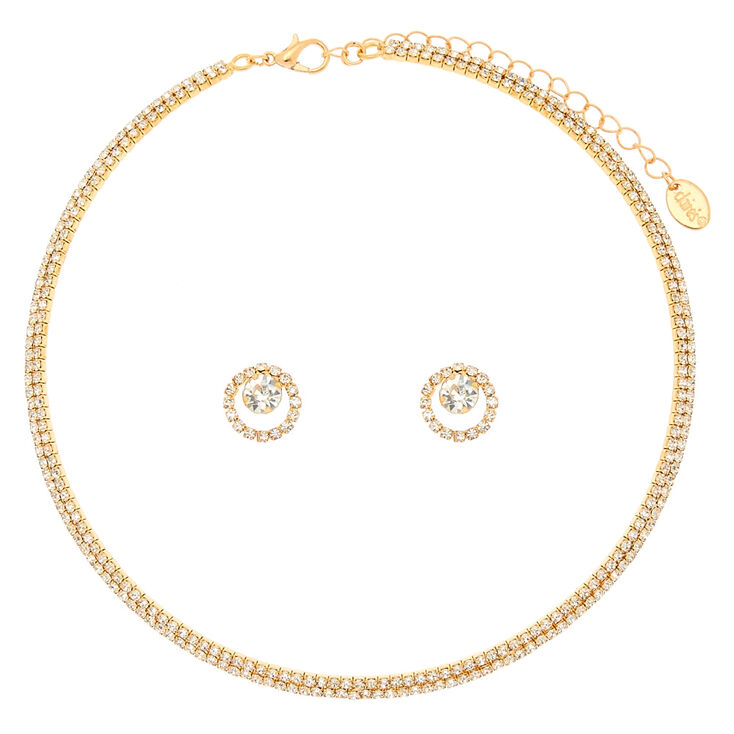 Crystal Choker & Earring Set in Gold,