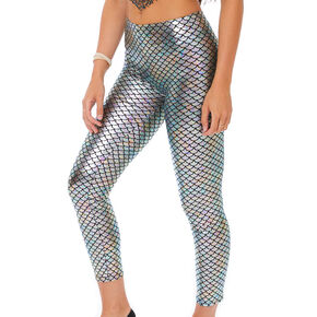 Mermaid Scale Leggings - Silver,