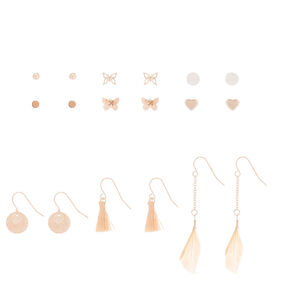 Rose Gold Mixed Earrings Set - 9 Pack,