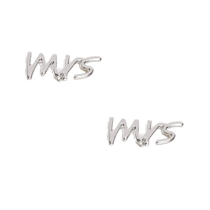 Silver Tone Mrs. Stud Earrings,