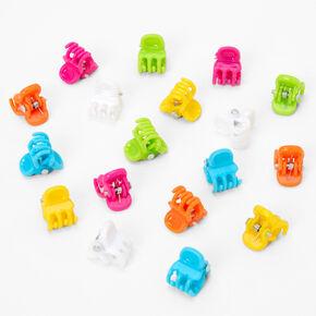 Neon Rainbow Mini Hair Claws - 18 Pack,
