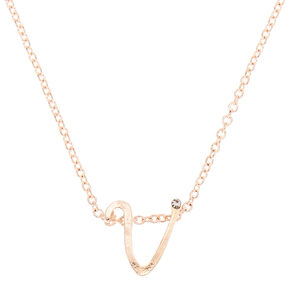 Rose Gold Cursive Initial Pendant Necklace - V,