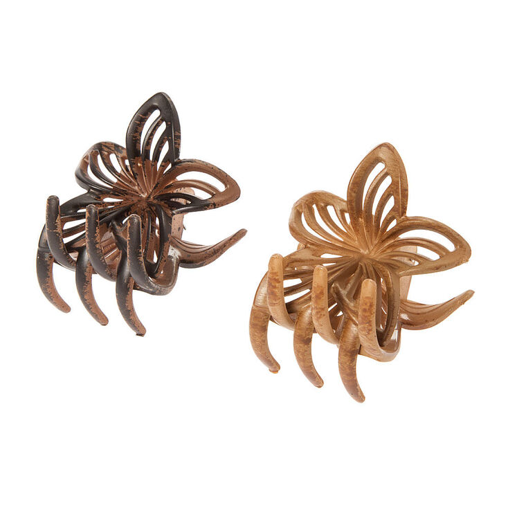 Vintage Wooden Flower Hair Claws - Brown, 2 Pack,