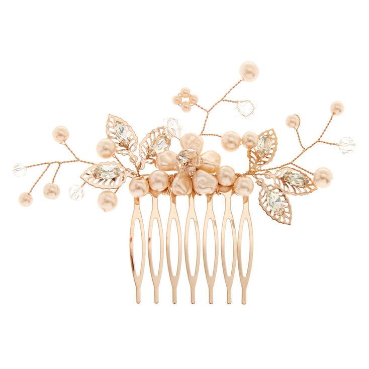 Blush Faux Pearl Flower Hair Comb,