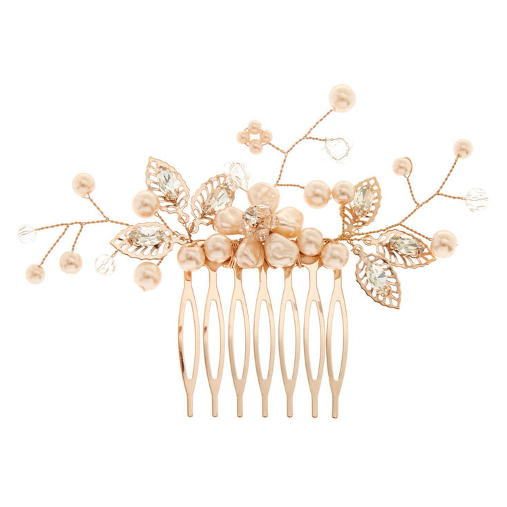 Blush Faux Pearl Flower Hair Comb,