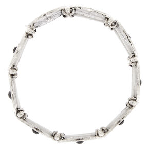 Silver Medallion Stretch Bracelet - Black,