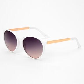 White & Gold Round Sunglasses,