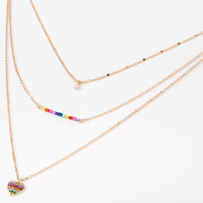 Gold Rainbow Beaded Heart Multi Strand Choker Necklace,