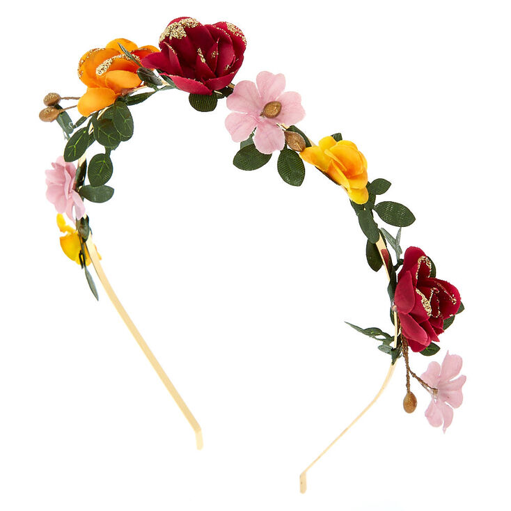 70s Headbands, Wigs, Hair Accessories Icing Gold Floral Garland Headband - Burgundy $9.99 AT vintagedancer.com