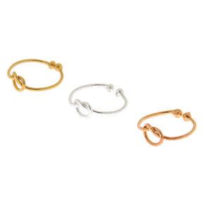 Mixed Metal Sterling Silver Knot Faux Cartilage Hoop Earrings - 3 Pack,