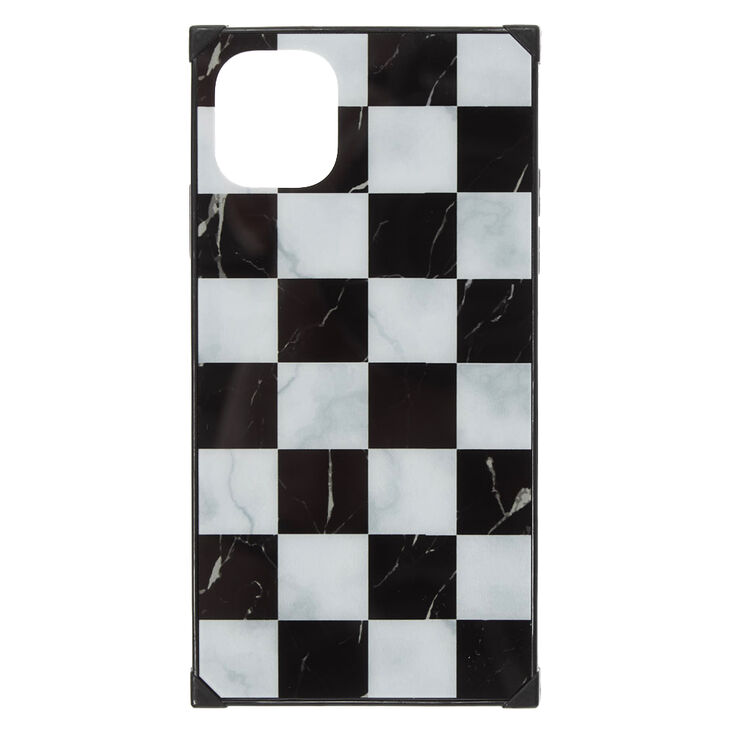 Checkered Marble Square Protective Phone Case - Fits iPhone 11,