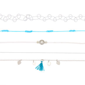 Silver Festival Choker Necklaces - Turquoise, 5 Pack,
