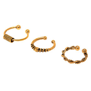 Gold Burnt Bali Faux Hoop Nose Rings - 3 Pack,