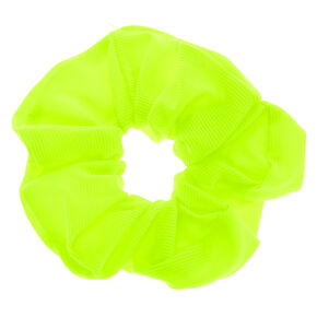Medium Ribbed Hair Scrunchie - Neon Yellow,