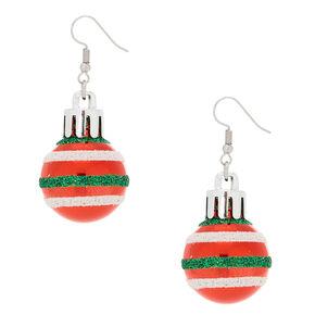 "2"" Striped Ornament Drop Earrings - Red,"