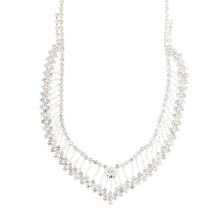 Crystal & Silver Beaded Chain V Necklace,