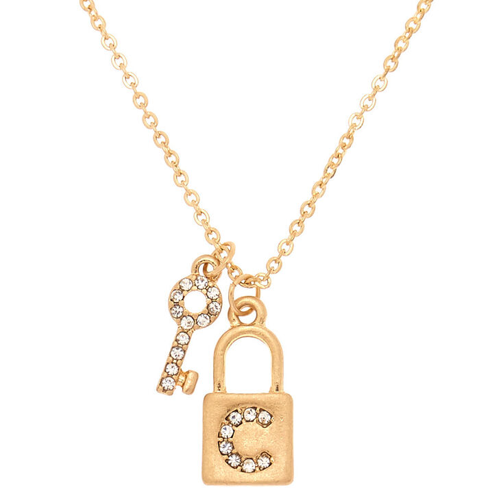 Gold Lock & Key Initial Pendant Necklace - C,