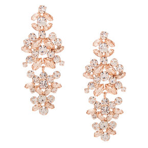 "Rose Gold Rhinestone 2"" Bouquet Drop Earrings,"