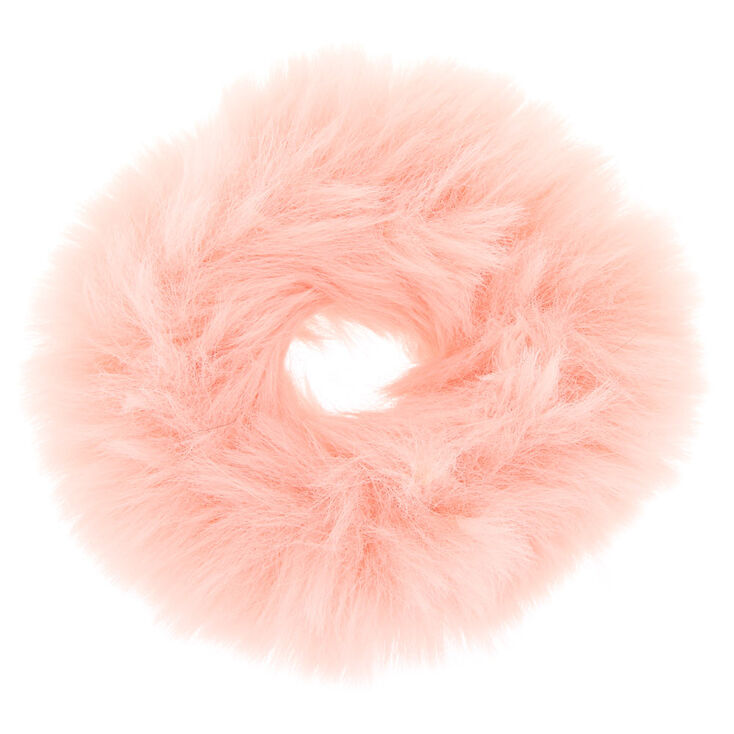 Faux Fur Hair Scrunchie - Blush,