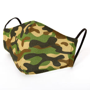 Cotton Green Camo Face Mask - Adult,
