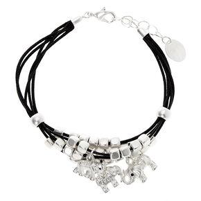 Silver Elephant Bead Chain Bracelet - Black,