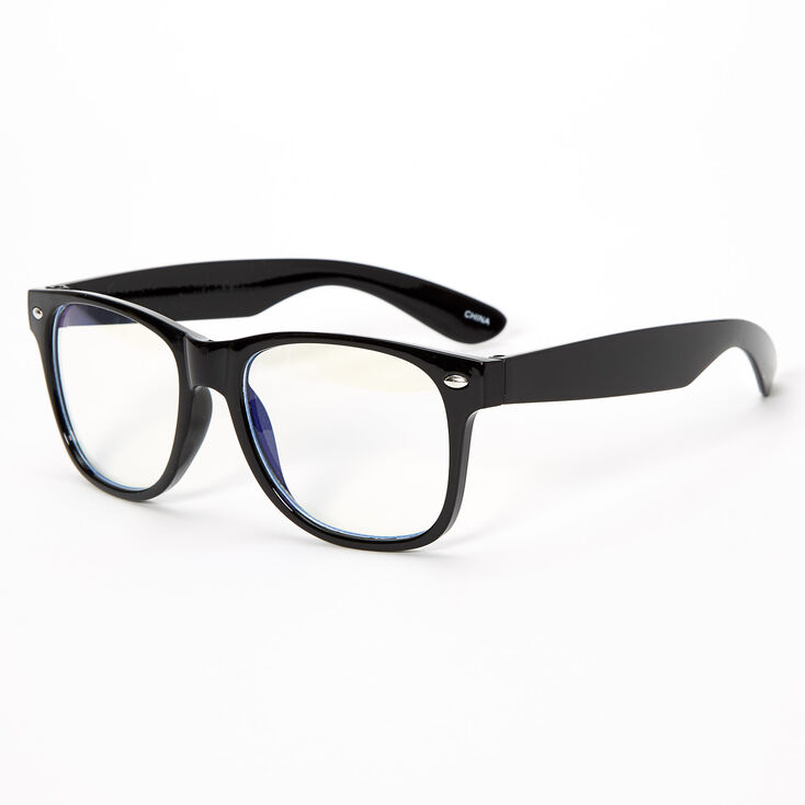 Blue Light Reducing Retro Clear Lens Frames - Black,