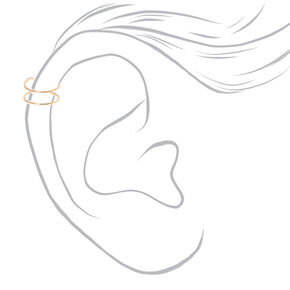 Gold Tone Thin Double Band Ear Cuff,