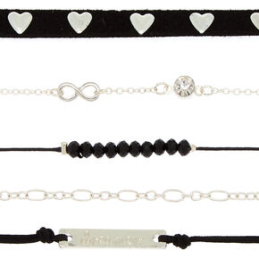 Silver Dreamer Choker Necklaces - Black, 5 Pack,