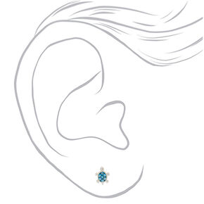 Sterling Silver Swarovski® Elements Turtle Stud Earrings - Turquoise,