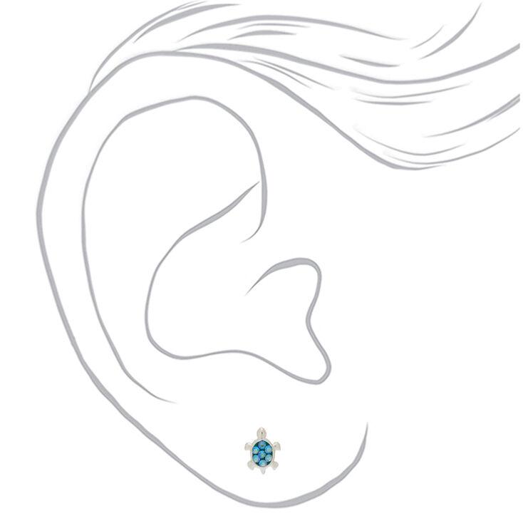 Sterling Silver Swarovski® Elements Turtle Stud Earrings - Turquoise,