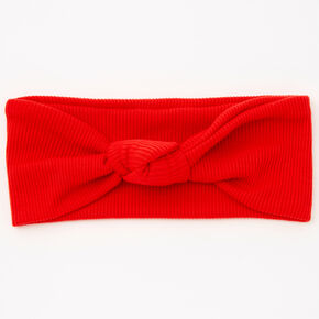 Ribbed Knotted Headwrap - Red,