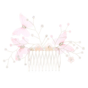 Butterfly Pearl Hair Comb - Pink,