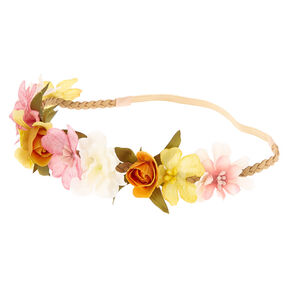 Spring Flower Crown Braided Headwrap,