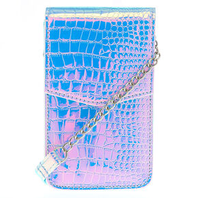 Holographic Snake Skin Tech Crossbody Bag,