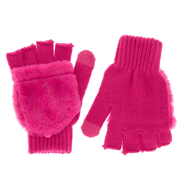 Touch Screen Fingerless Gloves with Furry Mitten Flap - Pink,