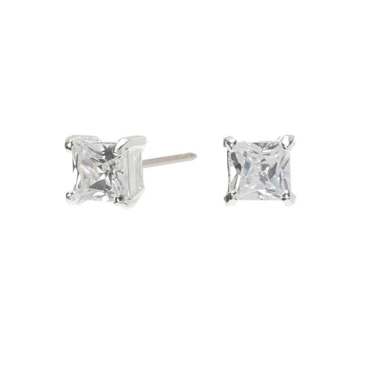stud earrings for women sterling silver stud earrings CZ stud earrings Gold Stud Earrings square stud earrings silver stud earrings