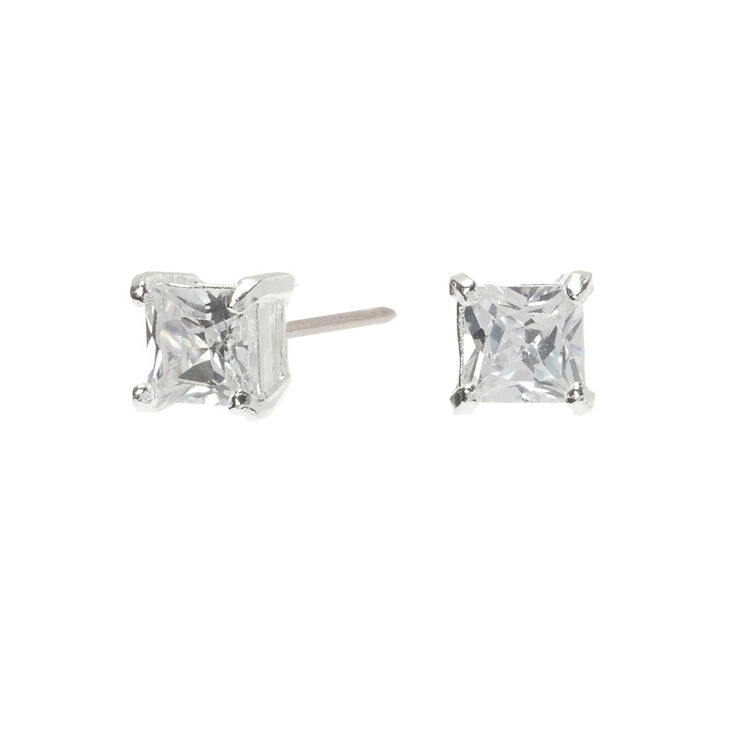 Sterling Silver Cubic Zirconia Square Stud Earrings - 4MM,