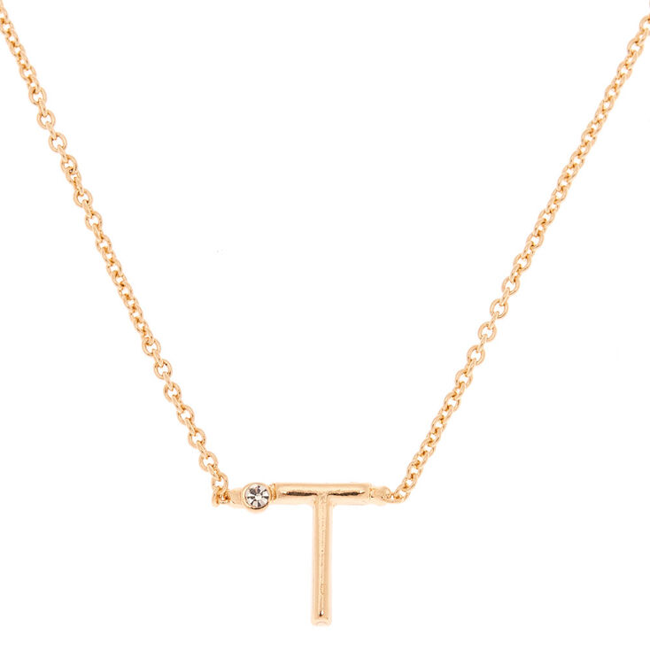 Gold Initial Necklace - T,