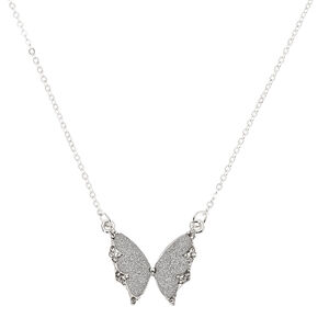 Silver Glitter Butterfly Pendant Necklace,